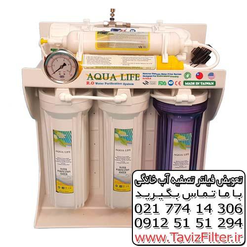 تعویض فیلتر آب شیرین کن آکوا لایف قیمت فیلتر دستگاه تصفیه آب خانگی Aqua Life