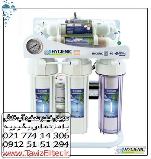 تعویض فیلتر تصفیه آب هایژنیک