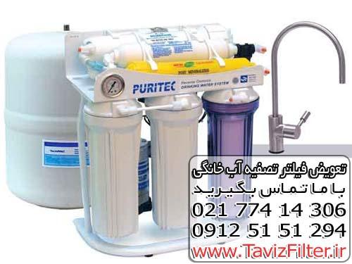 تعویض فیلتر تصفیه آب پیوریتک